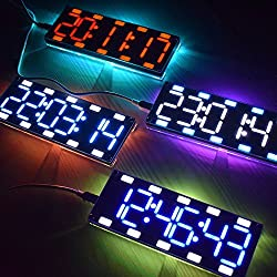 KKmoon DIY Clock Kit Large 6 Digit LED Two-Color Digital Tube Touch Control with Time Temperature Date Week Display