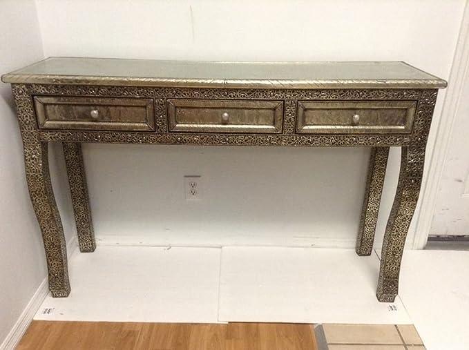 Amazon.com: Mesa consola marroquí plata tallada & Etched ...