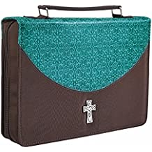 Turquoise & Brown Micro-Fiber Bible / Book Cover w/Cross (Large)