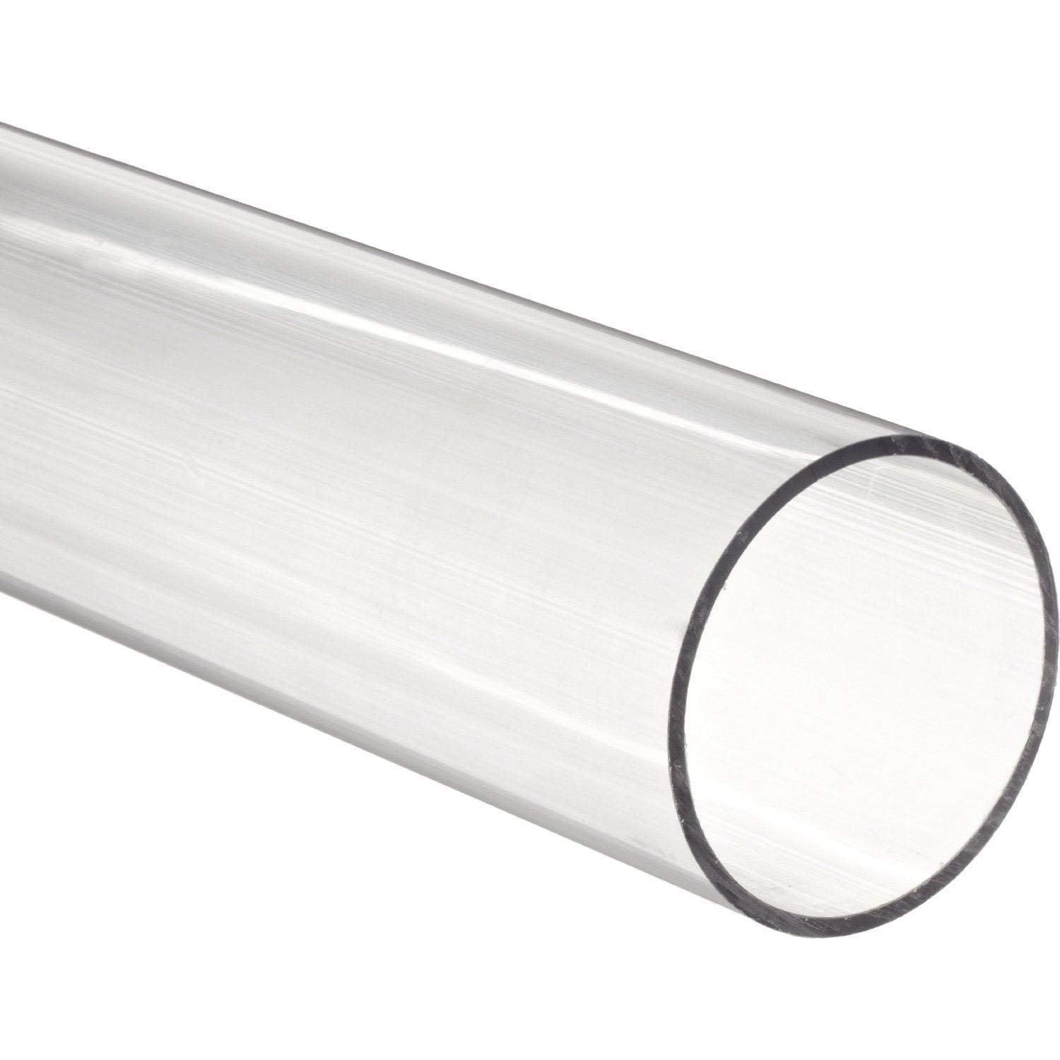 72'' Long Acrylic Round Tube (Clear) - 3/4'' ID x 1'' OD x 1/8'' Wall (Pack of 2) by Plastic-Craft