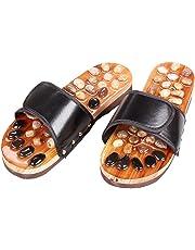 Healifty zapatillas de masaje de pies de guijarros sandalias masajeadores de pies antideslizantes zapatillas zapatillas de piedra de acupresión de adoquines 1 par 37 yardas (negro)