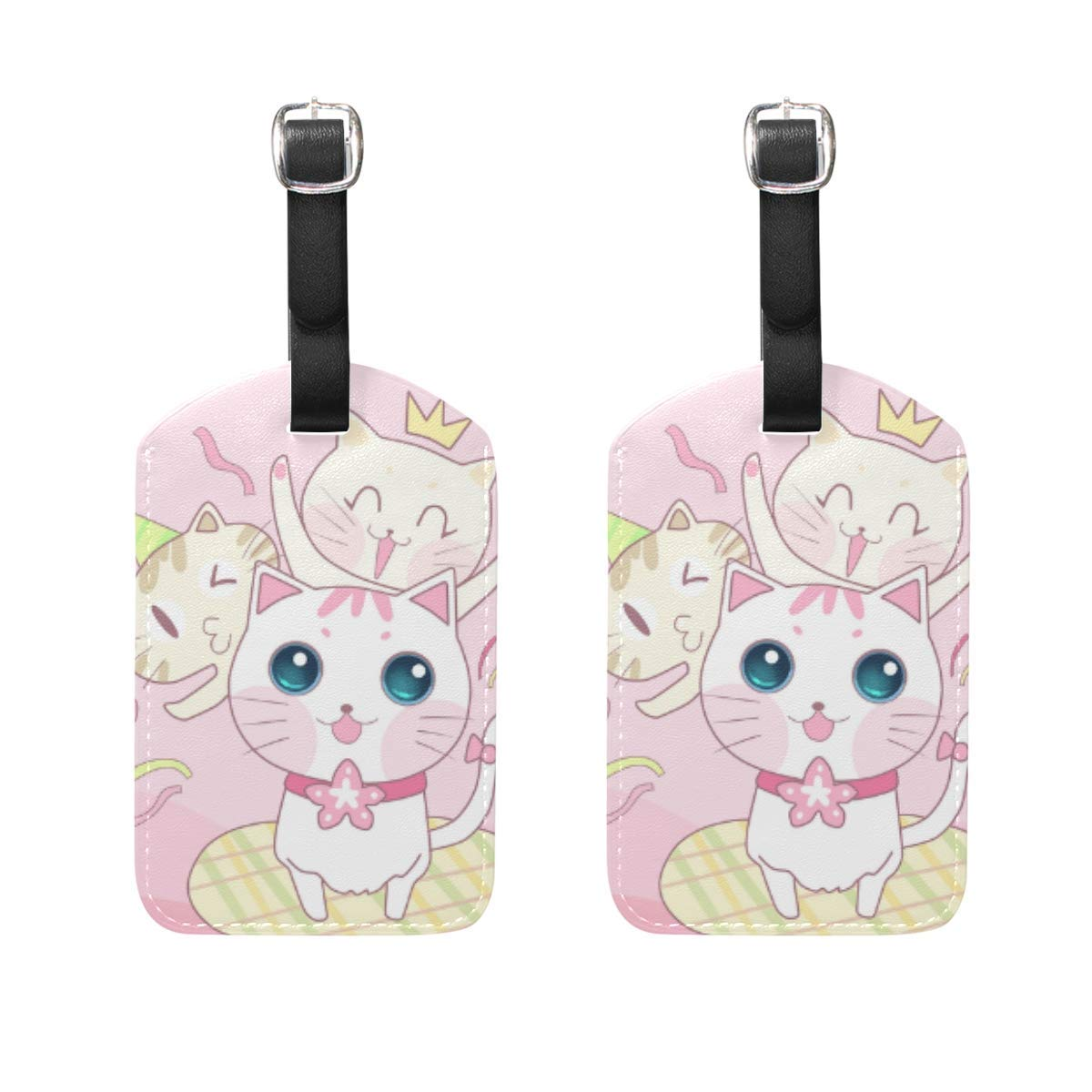 GTdgstdsc Cute Cartoon Animal Fresh Style Travel Labels Luggage Tag Pink Cat Mouse Fish Ball of Yarn Name Card Holder for Baggage Set Of 2