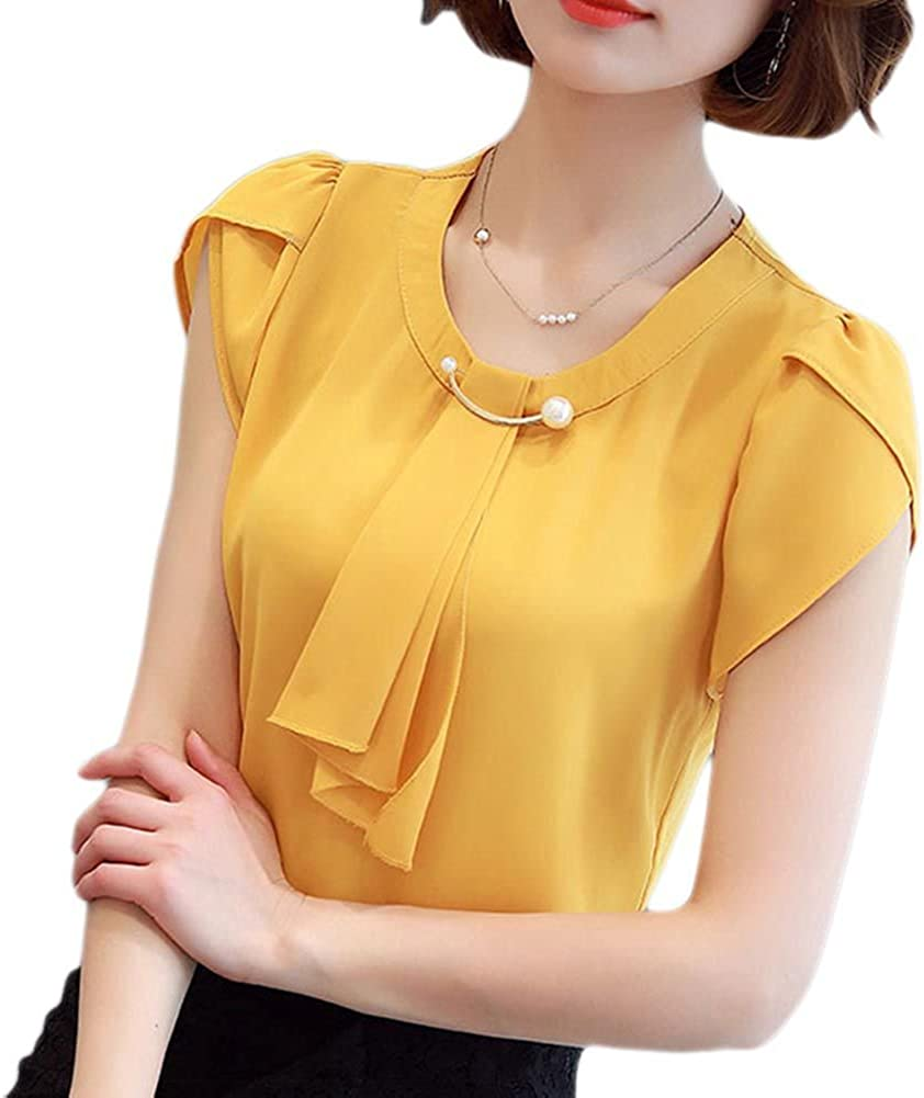 Women Short Sleeve Solid Color Chiffon Office Lady Shirt Summer Work Blouse Tops