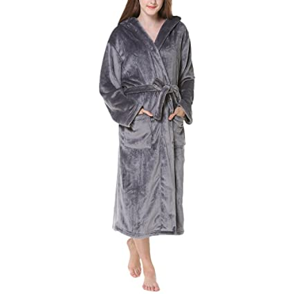 Zhhlinyuan Unisex Supersoft Luxury Dressing Gown, Hombres & Mujeres Plus Size Fleece Flannel Hooded Shawl Collar Long Bata Albornoces Housecoat para Adults ...