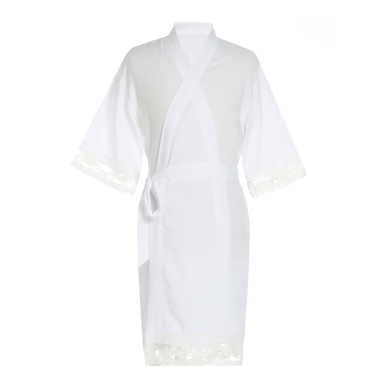 ellenwell Girl's Cotton Lace Kimono Flower Girl Getting Ready Robe For Wedding(4,White)