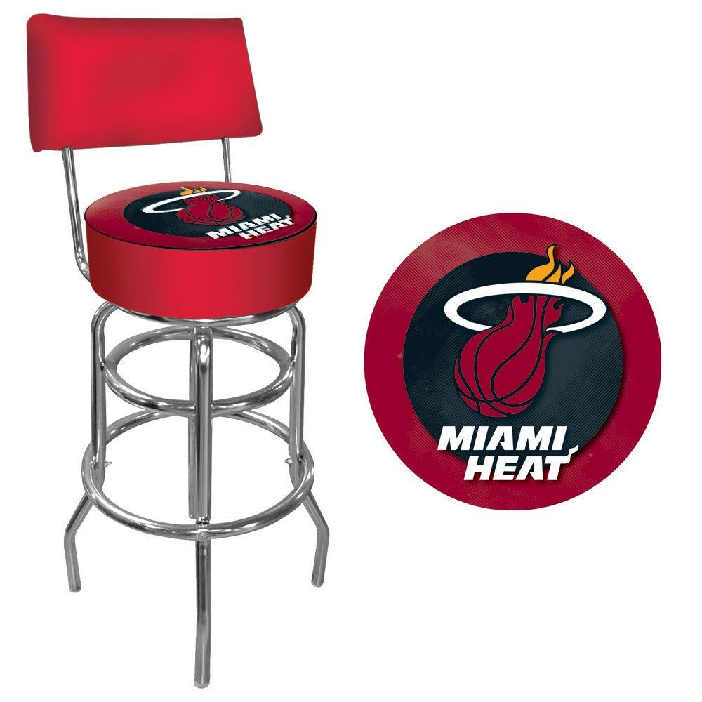 Trademark Gameroom NBA Miami Heat Padded Swivel Bar Stool with Back