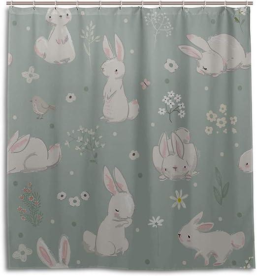 Amazon Com Girlos Bathroom Room Curtains Rabbit Cute Bunny Painted Animal Fabric Shower Curtains For Bathroom 66 X 72 Inch Machine Washable Waterproof Bathroom Curtains Home Kitchen