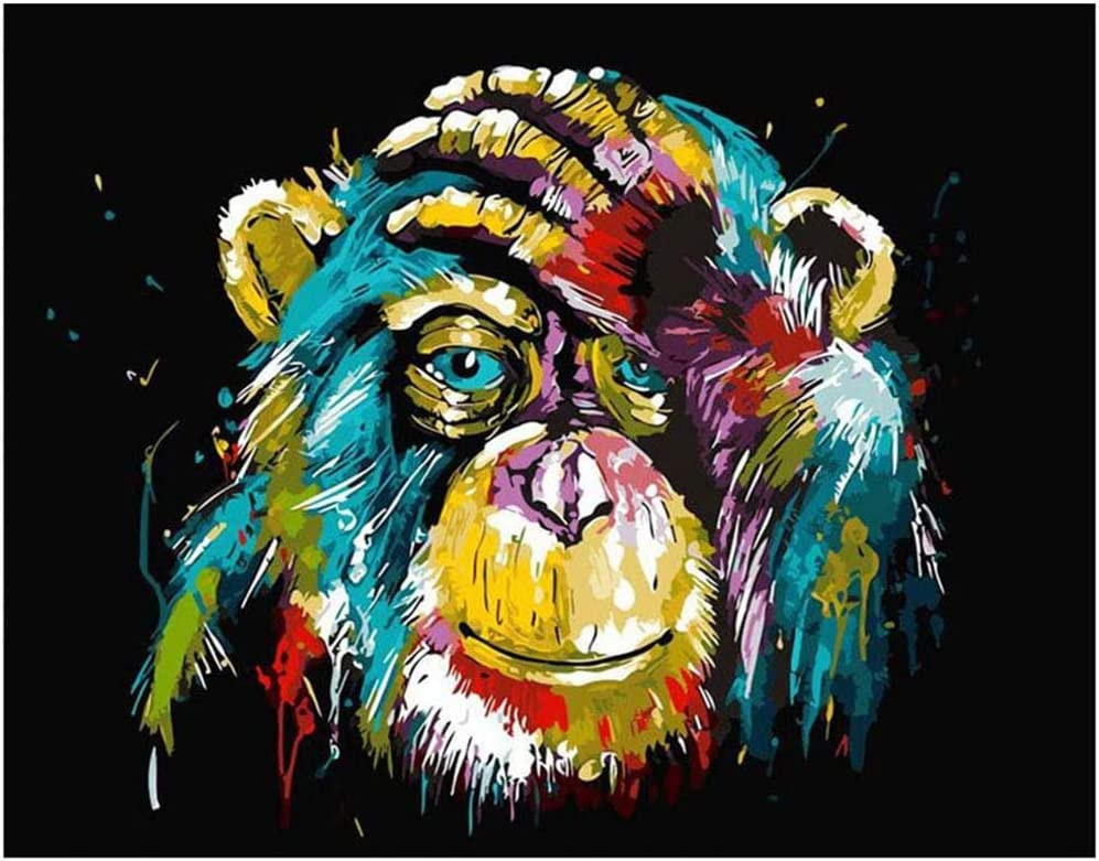 Gorila Johiux Pintura por n/úmero Kits,Pintura por N/úmeros Adultos Ni/ños para DIY Pintura por n/úmeros con Pinceles y Pinturas Decoraciones para el Hogar con Marco de 40 X 50 cm Sin Marco