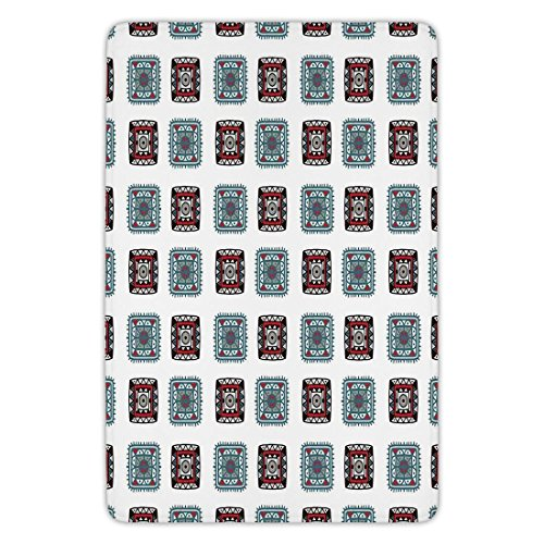 - Bathroom Bath Rug Kitchen Floor Mat Carpet,Batik Decor,Geometric Square Shaped Regularly Lined Aztec Tribal Forms with Ethnic Details Folk Batik Image,Multi,Flannel Microfiber Non-slip Soft Absorbent
