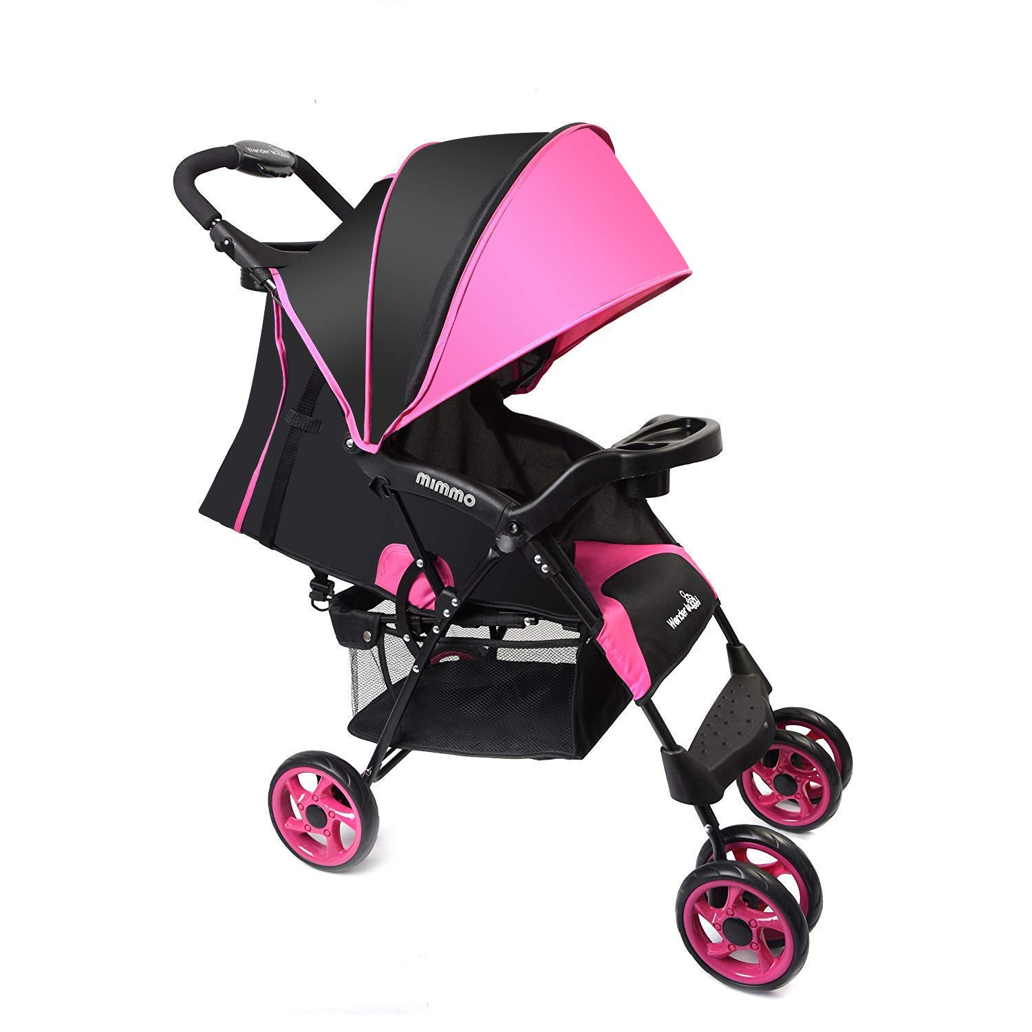 Wonder buggy Lightweight Baby Stroller, 5-Point Safety System with Round Canopy and Basket, Multi Positions Easy Fold (Pink)