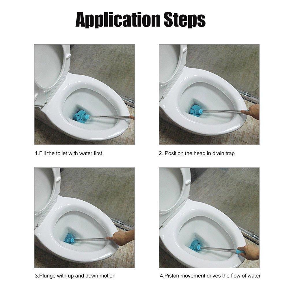 Toilet /émbolo LYPULIGHT Inodoro Dise/ñado Todo Tipo Potente Tubo Inodoro Purificado con Mango de Acero Inoxidable Ecol/ógico