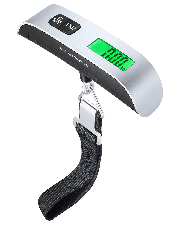 Portable Travel Luggage Scales /Électronique Digital LCD Handheld Luggage 50kg 110lb Capacit/é  Sacs de pes/ée Valises avec thermom/ètre et piles