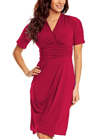 Knee Length Wrap Jersey Dress Ladies short sleeves v-neck smart casual  Business Office Dresses Cross over Womens Burgundy 24  Amazon.co.uk   Clothing c712047b3