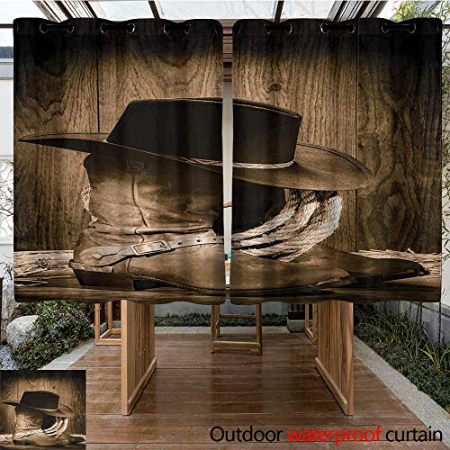 Outdoor Curtain Panel for Patio Western Decor Wild West Themed Cowboy Hat and Old Ranching Rope On Wooden Display Rodeo Style Energy Efficient, Room Darkening 108