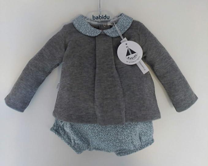 Babidú Conjunto bebé, Jersey Gris Afelpado y Ranita Estampada en Verde Azulado (6 Meses): Amazon.es: Ropa y accesorios
