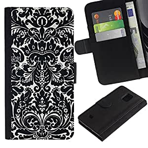 For Samsung Galaxy S5 Mini / Galaxy S5 Mini Duos / SM-G800 !!!NOT S5 REGULAR! ,S-type® Poker Gambling Floral Pattern White Black - Dibujo PU billetera de cuero Funda Case Caso de la piel de la bolsa protectora