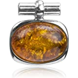 Honey Amber Sterling Silver Oval Pendant