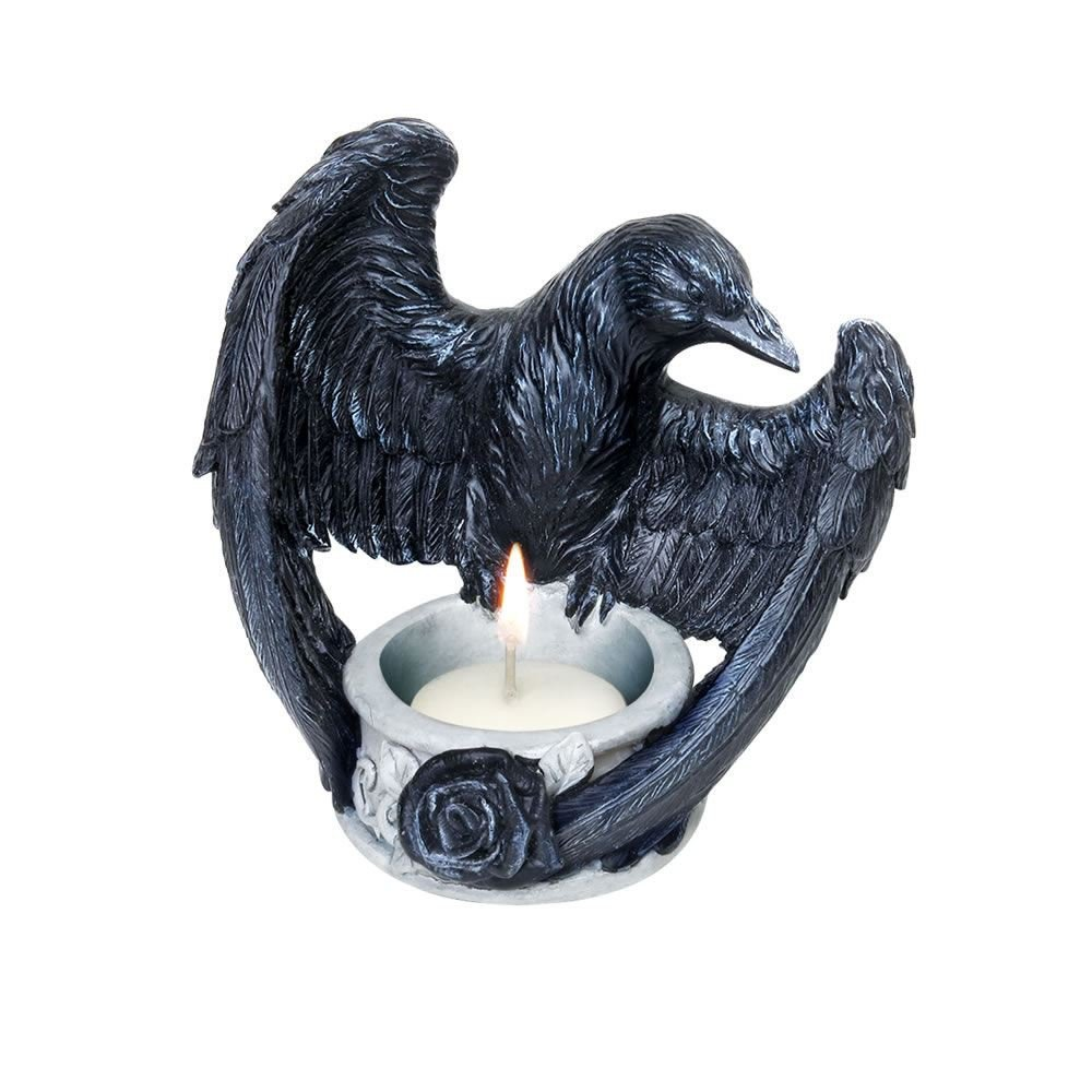 Alchemy Gothic Ravens Ward Tealight Holder (Black/Grey) V28