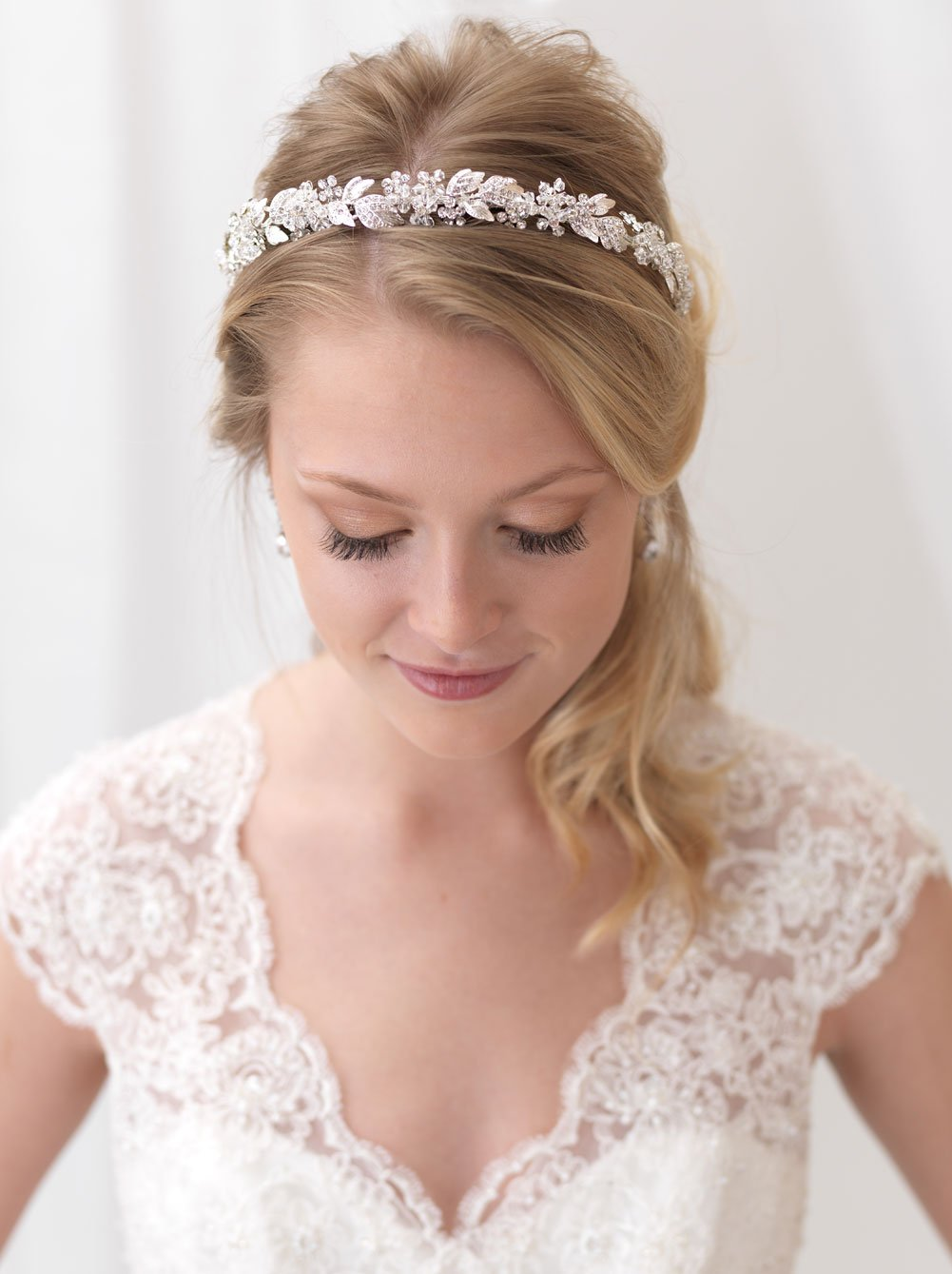 USABride Floral Headband Rhinestone Flower Bridal Headpiece Silver Plated with Rhinestones TI-3300 by USABride (Image #3)