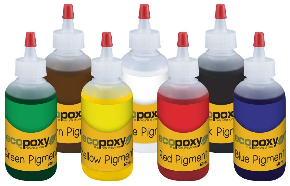 Color Pigment Set (60ml, Red, Yellow, Green, Blue, Black, Brown, White) by ECOPOXY