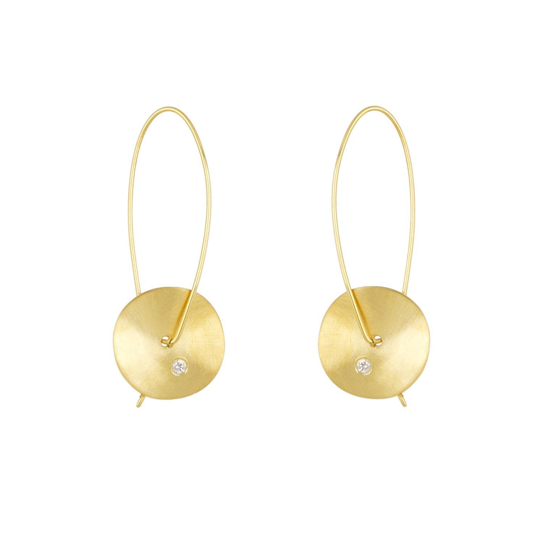 65a0f18d9c6 Amazon.com  14k Yellow Gold Diamond Disc Drop Earrings (0.08ct tw)  Jewelry