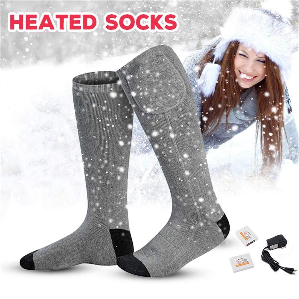 LIJUMN Rechargeable batterie é lectrique Kit de chaussettes chauffantes Chaussettes thermiques par temps froid Camping en plein air Randonné e pé destre Hiver Chaud Chaussettes pour hommes