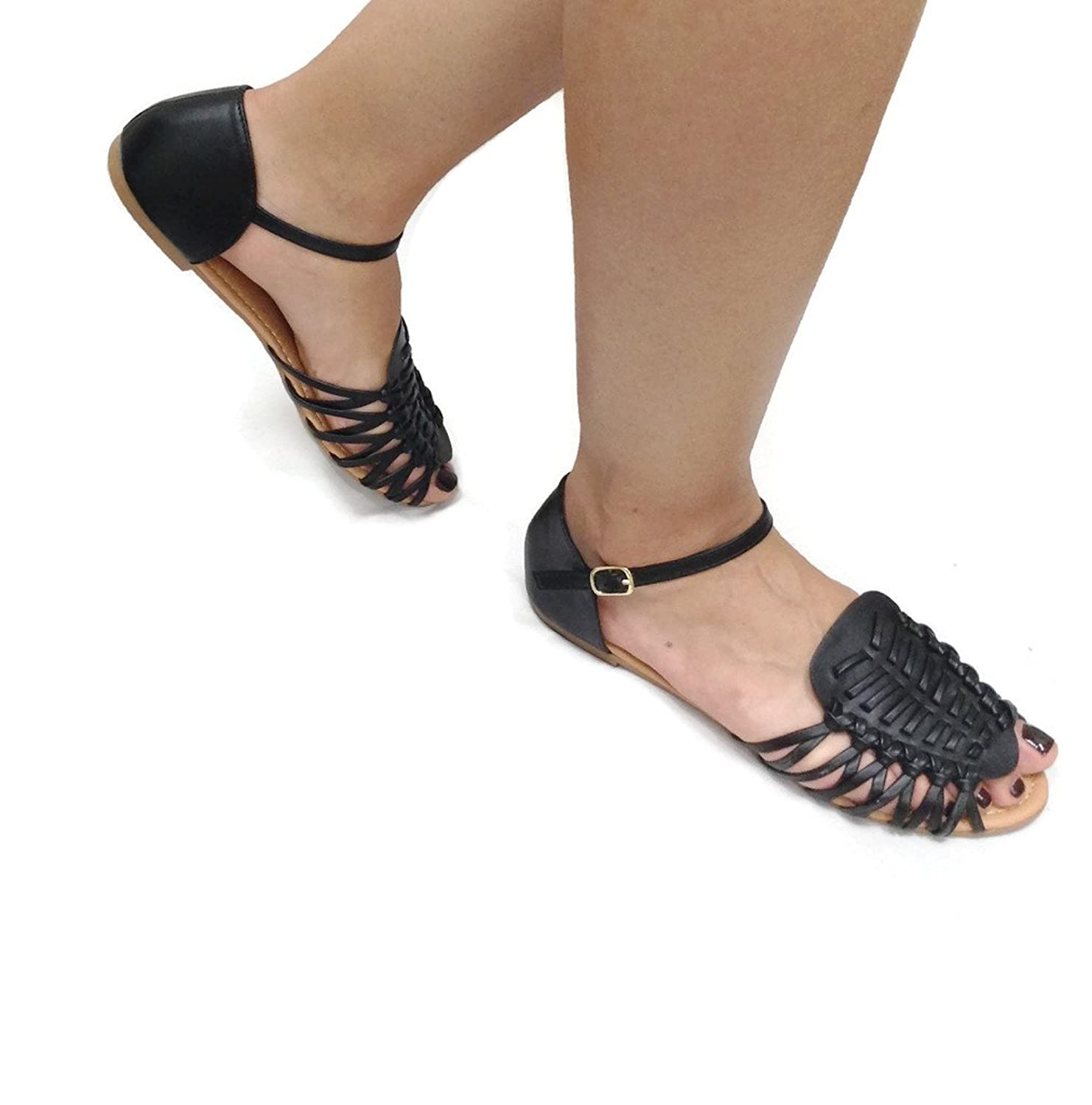 Women Gladiator Boho Leather Sandals Strappy Casual Fashion Flats Shoe
