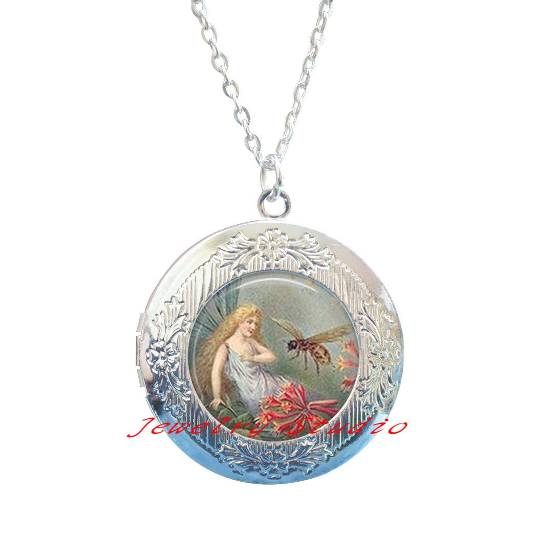 Charming fashion Locket Necklace,Fashion Fairy Locket Pendant Fairy Locket Necklace Honey Bee Locket Pendant Glass Locket Pendant,Honey Bee Charm Insect Locket Necklace-HZ0051