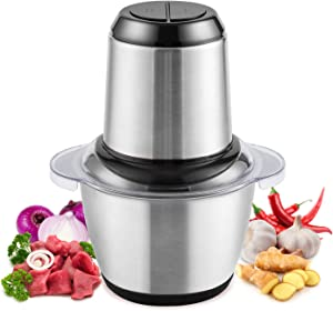 Electric Food Chopper & Mini Food Processor, 5-Cup Meat Grinders 1.2L Stainless Steel for Meat, Vegetables, Fruit, Salad, Onion and Garlic, 2 Speed and 4 Sharp Blades, 300W