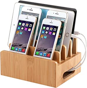 Bamboo Wooden Charging Station for Multiple Device Holder, Desktop Docking Stations Organizer Stand Compatible with Apple Product, iPhones, iPad, Android, Phone and More (Charger, Cable not Included)