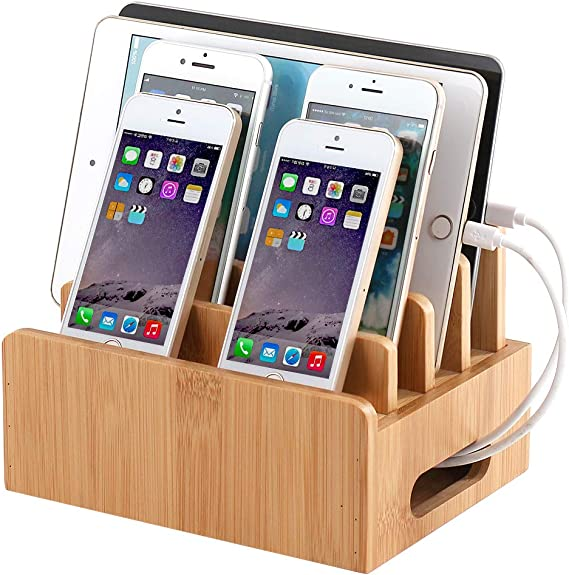 2018 Multiple Devices Charging Base Bamboo Wood Charging Base For iPhone X iPad