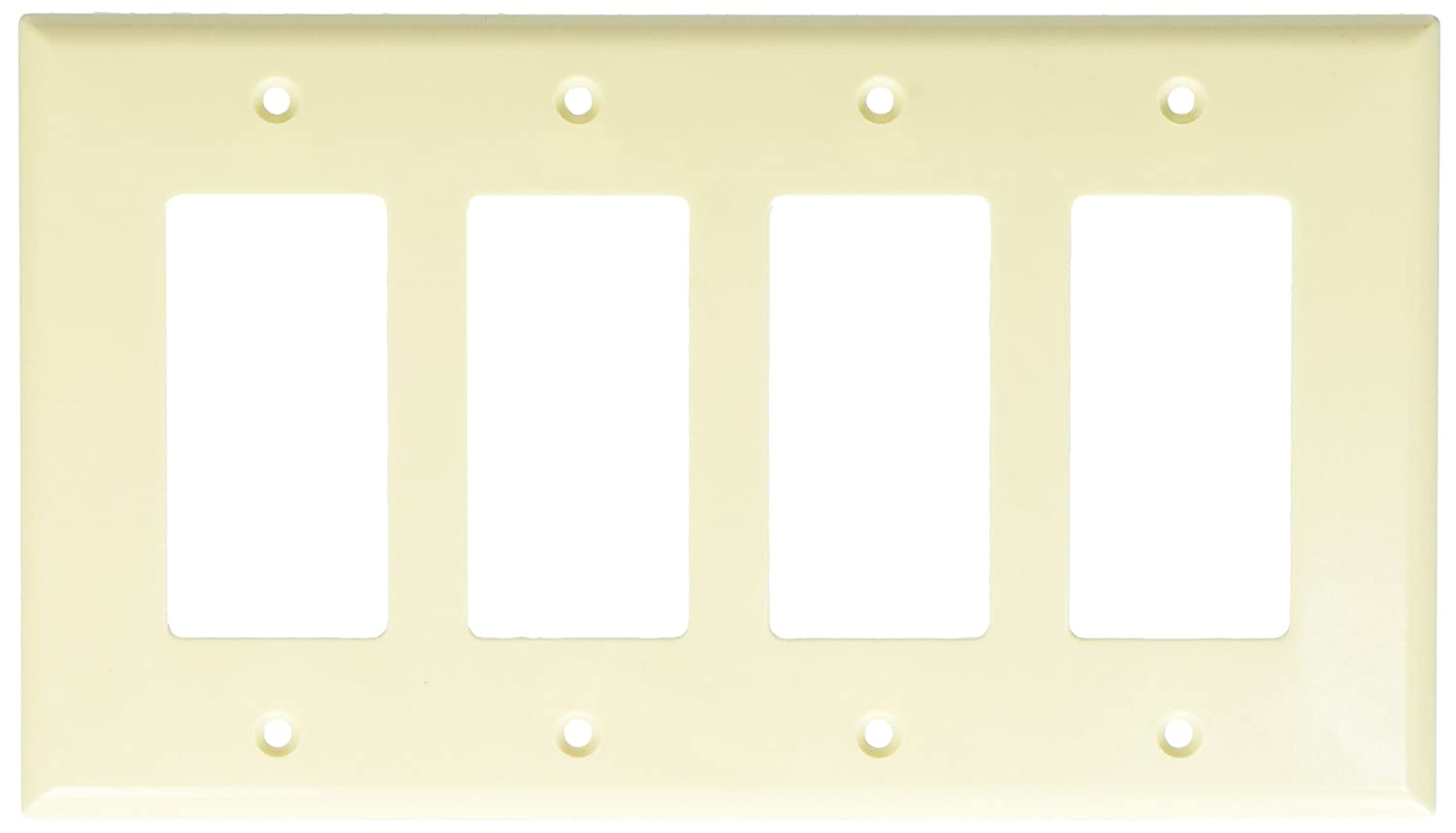 Eaton 2064V Mid-Size 4-Gang Thermoset Decorator Wall Plate with Box Ivory Finish