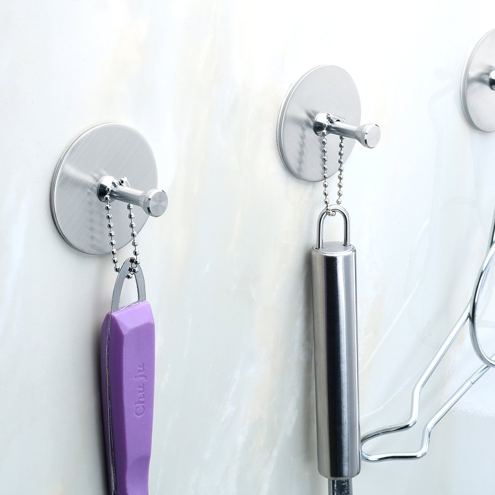FOTYRIG Self Adhesive Hooks Heavy Duty Wall Stainless Steel Waterproof Robe/Towel Hooks for Bathroom Kitchen Garage-4 Packs by FOTYRIG (Image #4)