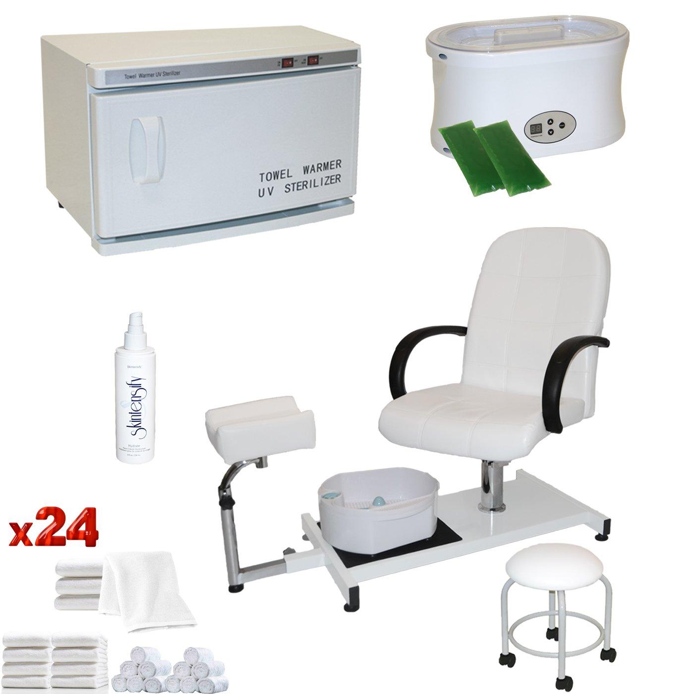 LCL Beauty White Pedicure Chair Hot Towel Warmer & Sterilizer Paraffin Wax Warmer Package