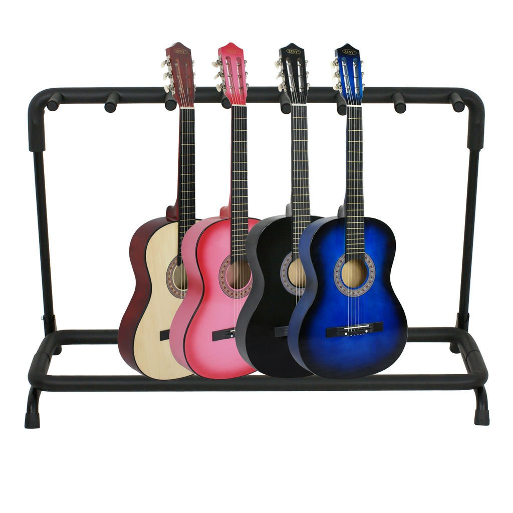 ZENY Multi Guitar Stand 7 holder Foldable Guitar Display Rack,Electric Acoustic Bass Stand Organizer