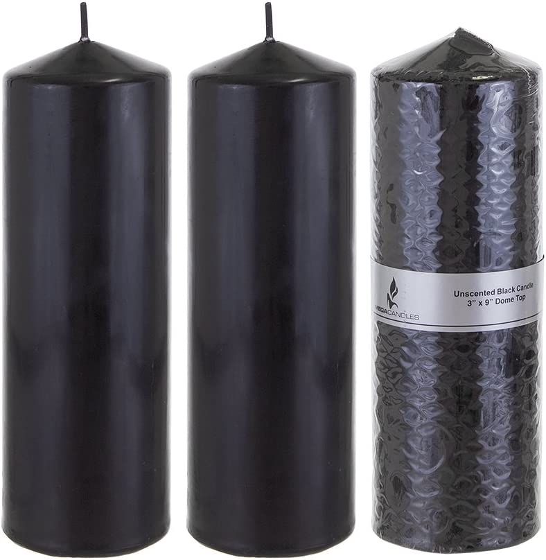 Mega Candles 3 pcs Unscented Black Round Pillar Candle, Pressed Premium Wax Candles 3 Inch x 9 Inch, Home Décor, Wedding Receptions, Baby Showers, Birthdays, Celebrations, Party Favors & More