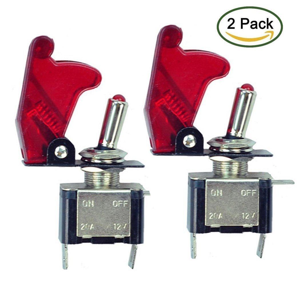 20 A Interruptor SPST de encendido y apagado para coche de Tily 2 unidades, 12 V iluminaci/ón LED