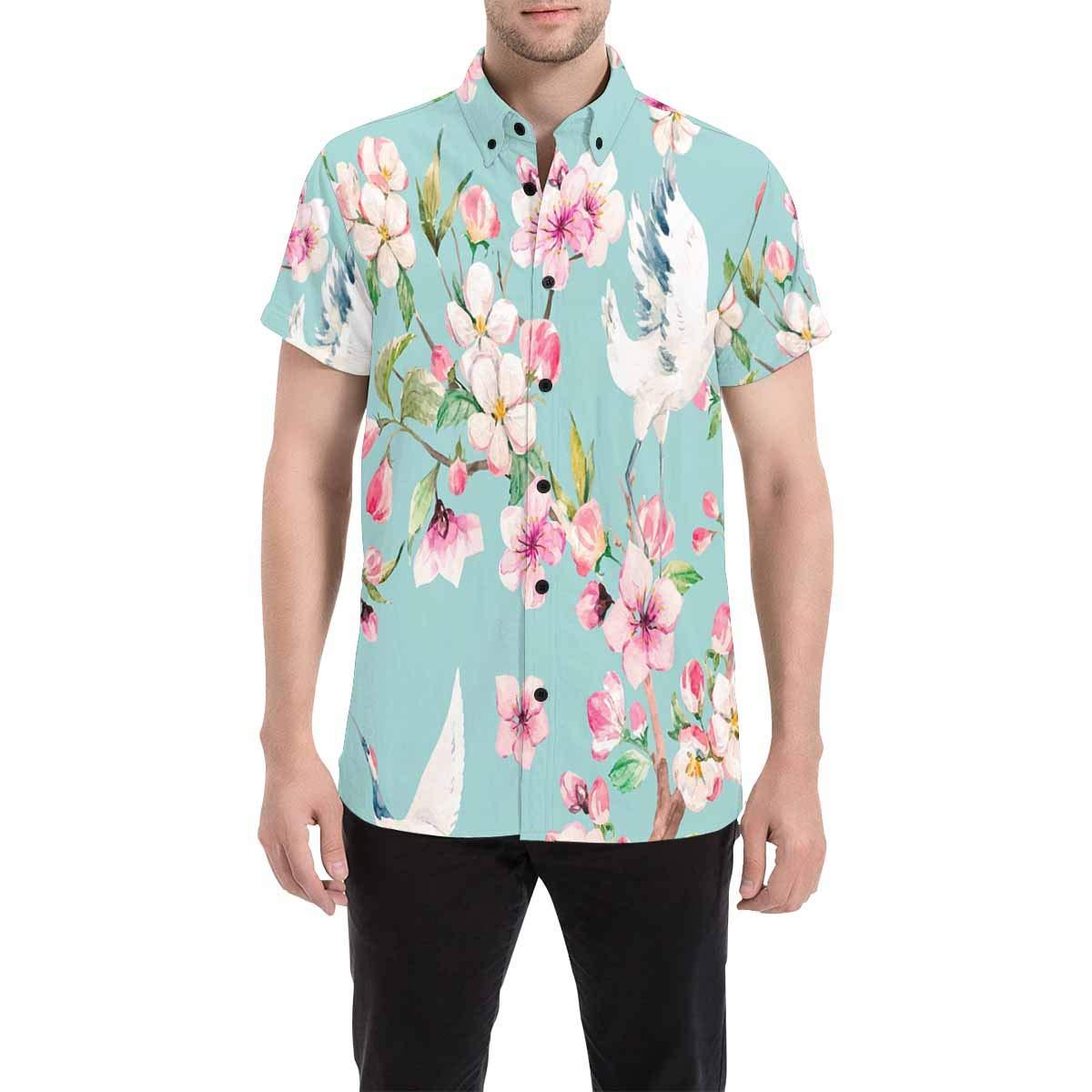 InterestPrint Regular Fit Crane with Flowers Casual Regular Fit Short Sleeve Shirt