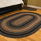 IHF Home Decor Oval Braided Rug New 22'' X 72'' EBONY DESIGN Country Style Area Floor Carpet Jute Material