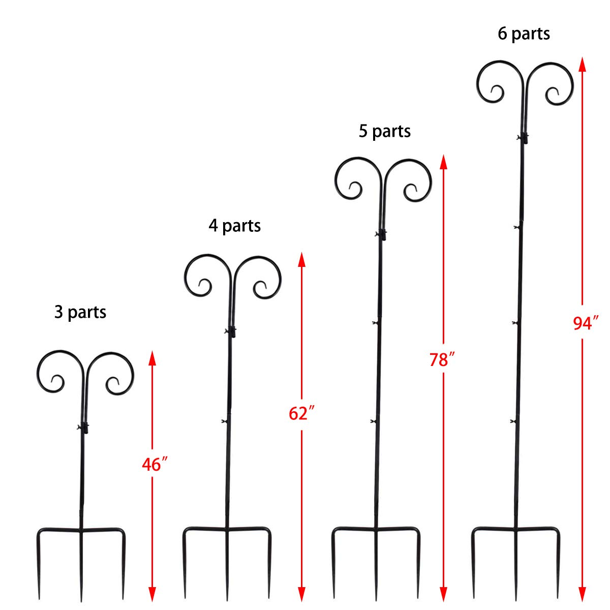 Vencer Set of 2 Double Shepherd Hook 94 Inch Heavy Duty 7/10 in Thick Rust Resistant Premium Metal Hook for Weddings Hanging Plant Baskets Solar Lights Christmas Lights Lanterns Bird Feeders,VHH-002 by Vencer (Image #2)