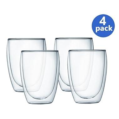 Bodum Pavina Double Wall Glass, 12-Ounce, Set of 4