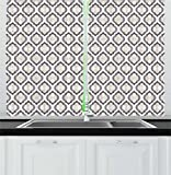 Lunarable Cream Kitchen Curtains, Moroccan Style Trellis Pattern with Geometric Design Arabian Oriental Retro Inspired, Window Drapes 2 Panel Set for Kitchen Cafe, 55 W X 39 L Inches, Grey Beige Review