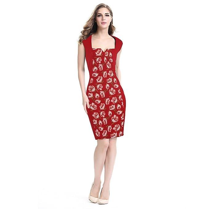 Las mujeres Floral Impreso Vestido Vestido de fiesta Vintage vestido elegante vestido: Amazon.es: Ropa y accesorios