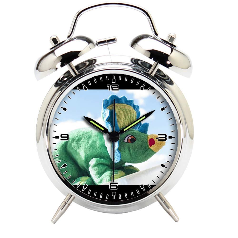 Children's Room Silver Dinosaur Silent Alarm Clock Twin Bell Mute Alarm Clock Quartz Analog Retro Bedside and Desk Clock with Nightlight-450_Toy, Sky, Dinosaur, Saurus, Stuffed Animals, Pehmoel?in