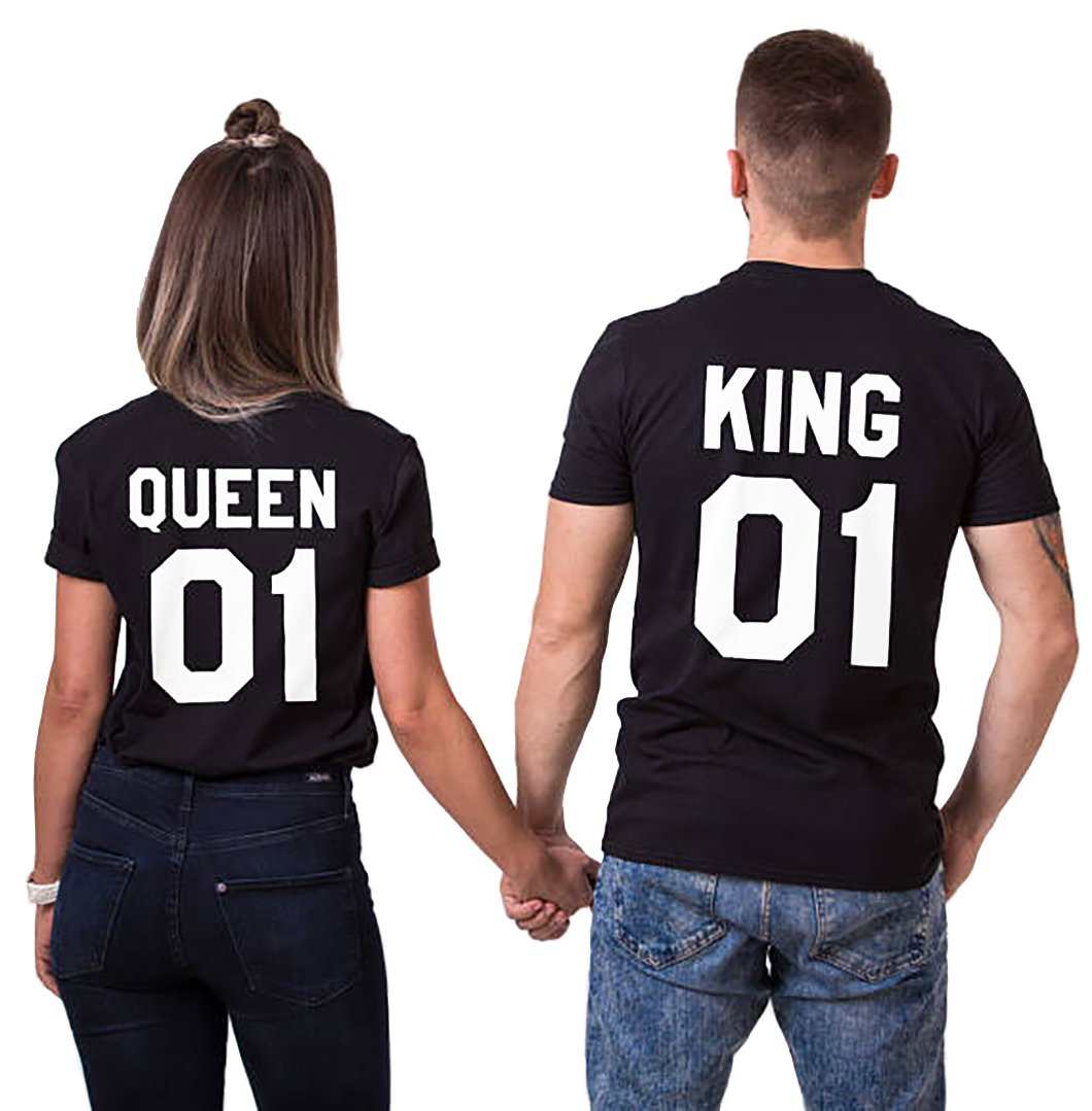 Double Fashion T-Shirt King Queen Pair Set 2 Matching Couple Valentine Birthday Wedding (Black+Black, King-XL+Queen-L)