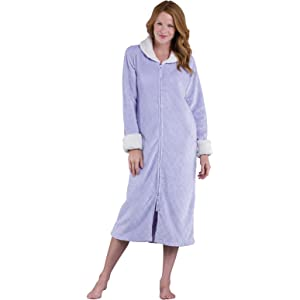 32e6c7d686 Ladies Womens Polar Fleece Zip Front Dressing Gown Bathrobe ...