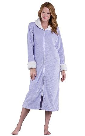 PajamaGram Fleece Robes for Women - Zip Up Robe 2fc5542b5
