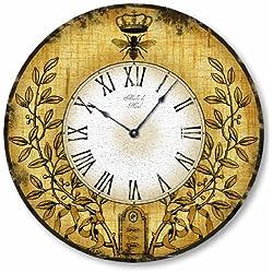 Fairy Freckles Studios Item C2119 Vintage Style Honeybee Clock (12 Inch Diameter)