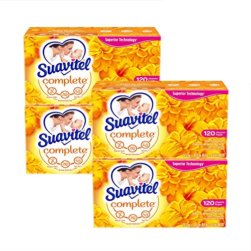 Suavitel Complete Fabric Softener Dryer Sheets, Morning Sun - 120 Count, 4 Pack