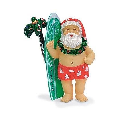hawaiian surfing santa surfboard ornament